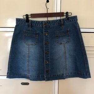 American Rag Skirts - Boho Button Up A-line Denim Mini Sz 15 J